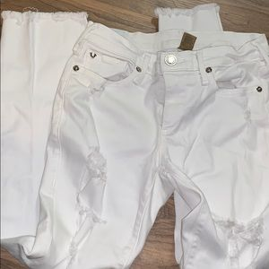 True religion white ripped frayed crop skinny